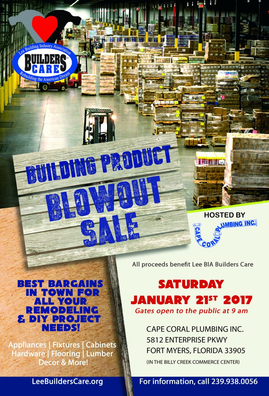 Building Supply Blowout Sale Set For January 21st