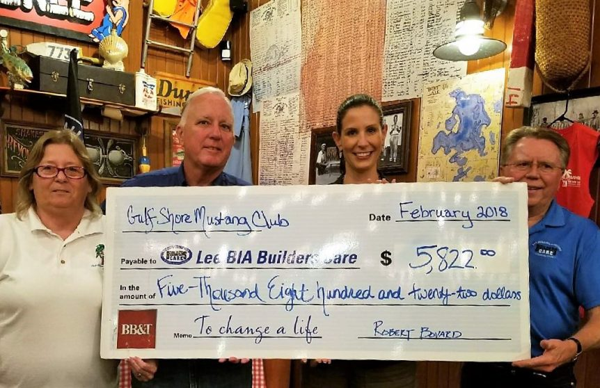Gulfshore Mustang Club Donates 5 822 To Lee Bia Builders